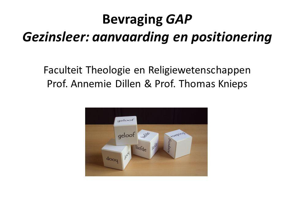 Belangrijkste hypothesen (op basis van ervaring en ander onderzoek) Een groot deel van de Vlaamse kerkelijk betrokkenen stemt (vermoedelijk) niet of niet volledig in met de kerkelijke gezinsleer in theorie en in pastorale praktijk.