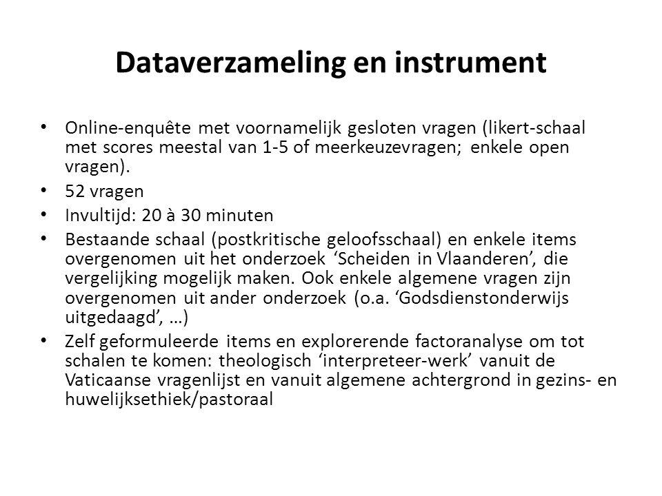 Dataverzameling en instrument Online-enquête met voornamelijk gesloten vragen (likert-schaal met scores meestal van 1-5 of meerkeuzevragen; enkele open vragen).