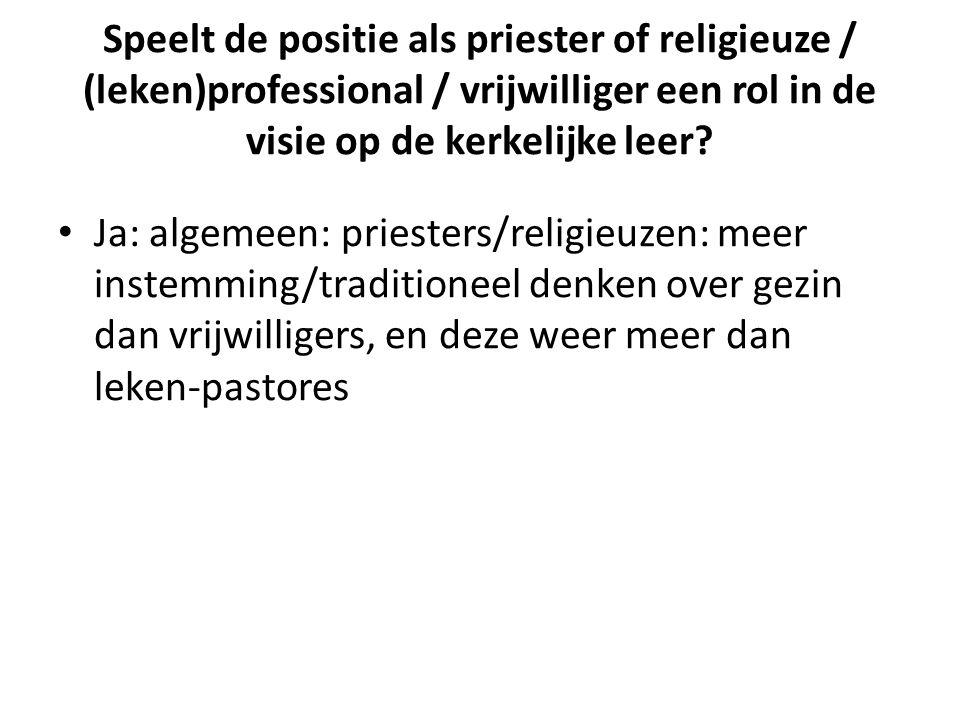 Speelt de positie als priester of religieuze / (leken)professional / vrijwilliger een rol in de visie op de kerkelijke leer.