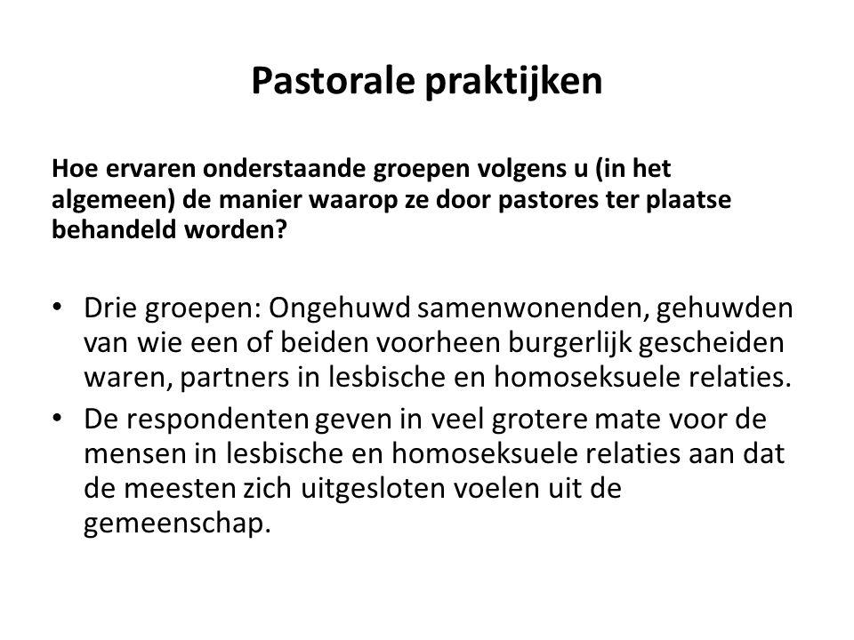 Pastorale praktijken Hoe ervaren onderstaande groepen volgens u (in het algemeen) de manier waarop ze door pastores ter plaatse behandeld worden.