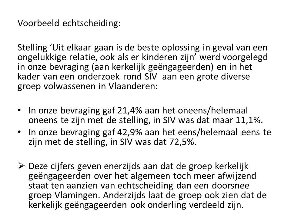 Voorbeeld echtscheiding: Stelling 'Uit elkaar gaan is de beste oplossing in geval van een ongelukkige relatie, ook als er kinderen zijn' werd voorgelegd in onze bevraging (aan kerkelijk geëngageerden) en in het kader van een onderzoek rond SIV aan een grote diverse groep volwassenen in Vlaanderen: In onze bevraging gaf 21,4% aan het oneens/helemaal oneens te zijn met de stelling, in SIV was dat maar 11,1%.