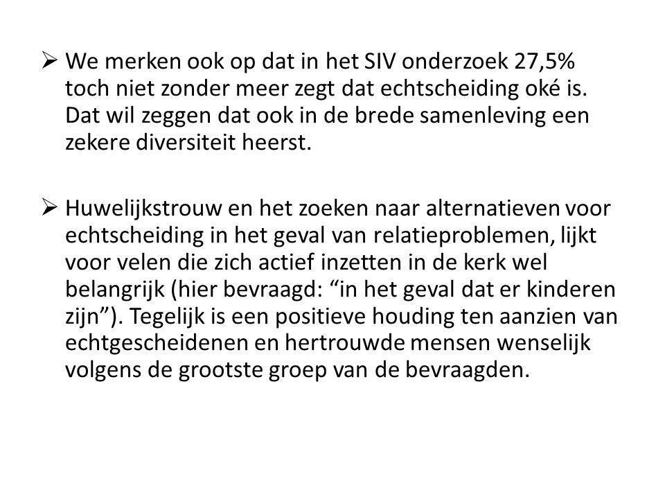  We merken ook op dat in het SIV onderzoek 27,5% toch niet zonder meer zegt dat echtscheiding oké is.