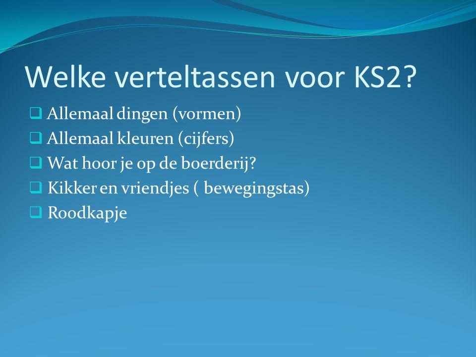 Welke verteltassen voor KS3. Roodkapje  Het grote avontuur van Egeltje  Ik ben niet moe.