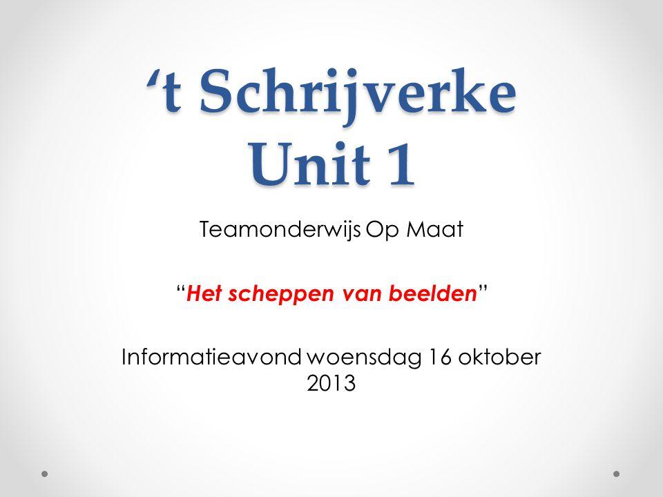 't Schrijverke Unit 1 Teamonderwijs Op Maat Het scheppen van beelden Informatieavond woensdag 16 oktober 2013