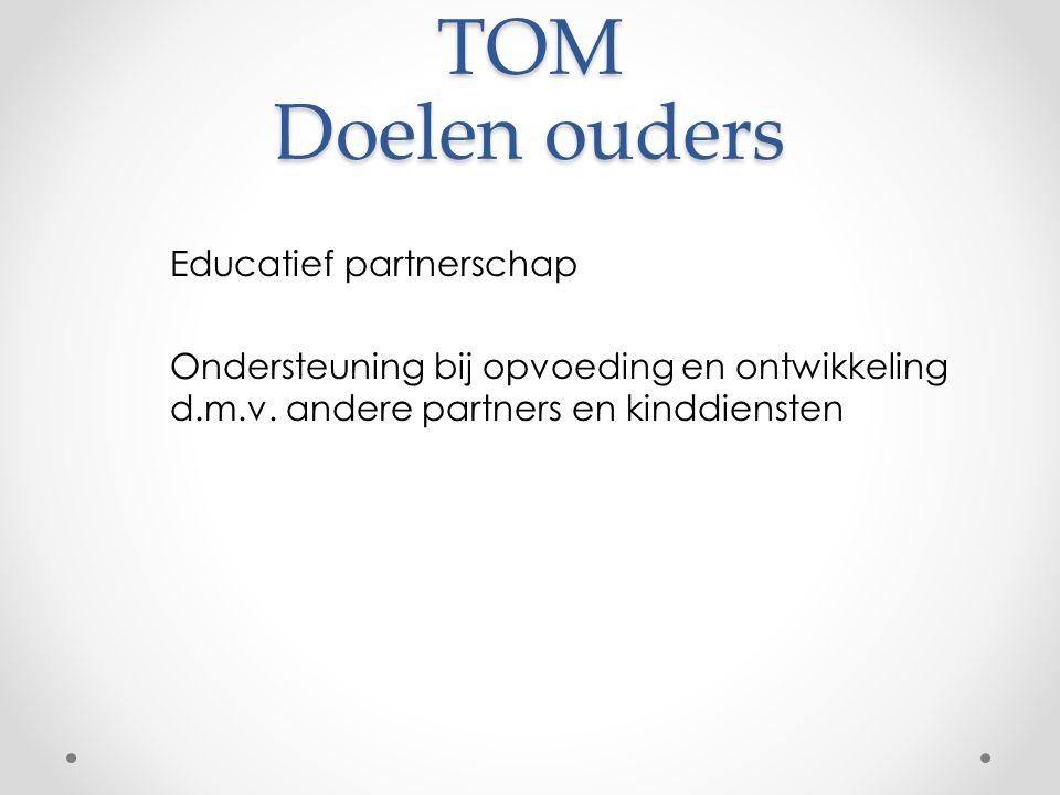 TOM Doelen ouders Educatief partnerschap Ondersteuning bij opvoeding en ontwikkeling d.m.v.