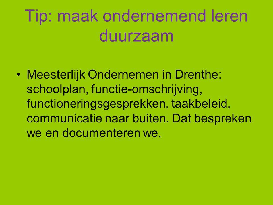 Tip: maak ondernemend leren duurzaam Meesterlijk Ondernemen in Drenthe: schoolplan, functie-omschrijving, functioneringsgesprekken, taakbeleid, commun