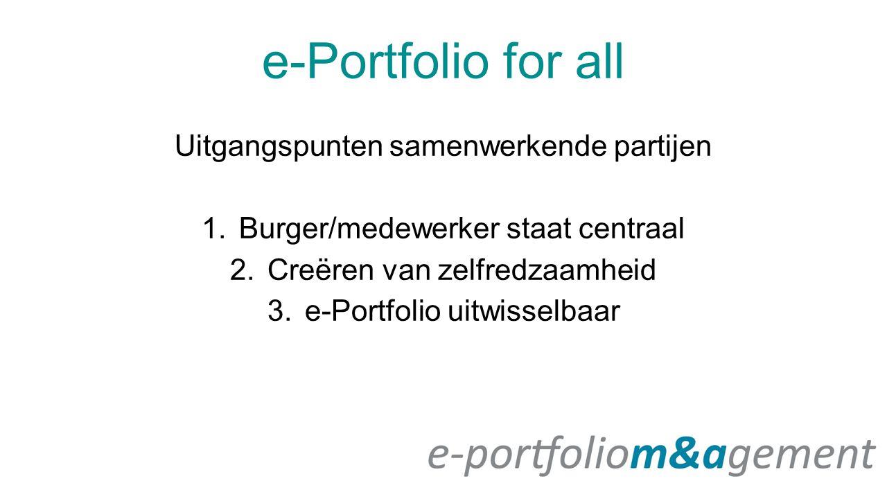 e-Portfolio for all Uitgangspunten samenwerkende partijen 1.Burger/medewerker staat centraal 2.Creëren van zelfredzaamheid 3.e-Portfolio uitwisselbaar