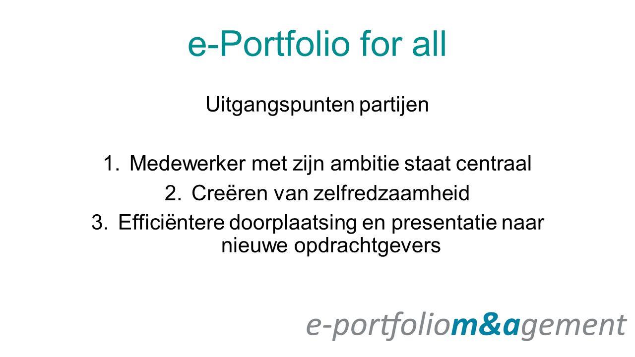 e-Portfolio for all Uitgangspunten partijen 1.Medewerker met zijn ambitie staat centraal 2.Creëren van zelfredzaamheid 3.Efficiëntere doorplaatsing en presentatie naar nieuwe opdrachtgevers