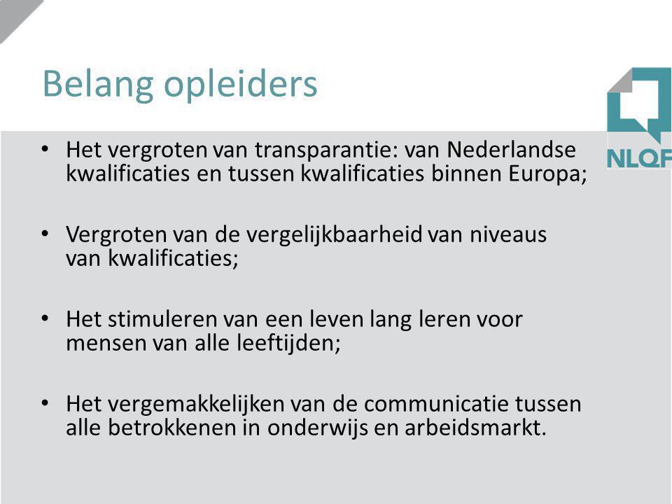 Belang opleiders Het vergroten van transparantie: van Nederlandse kwalificaties en tussen kwalificaties binnen Europa; Vergroten van de vergelijkbaarh