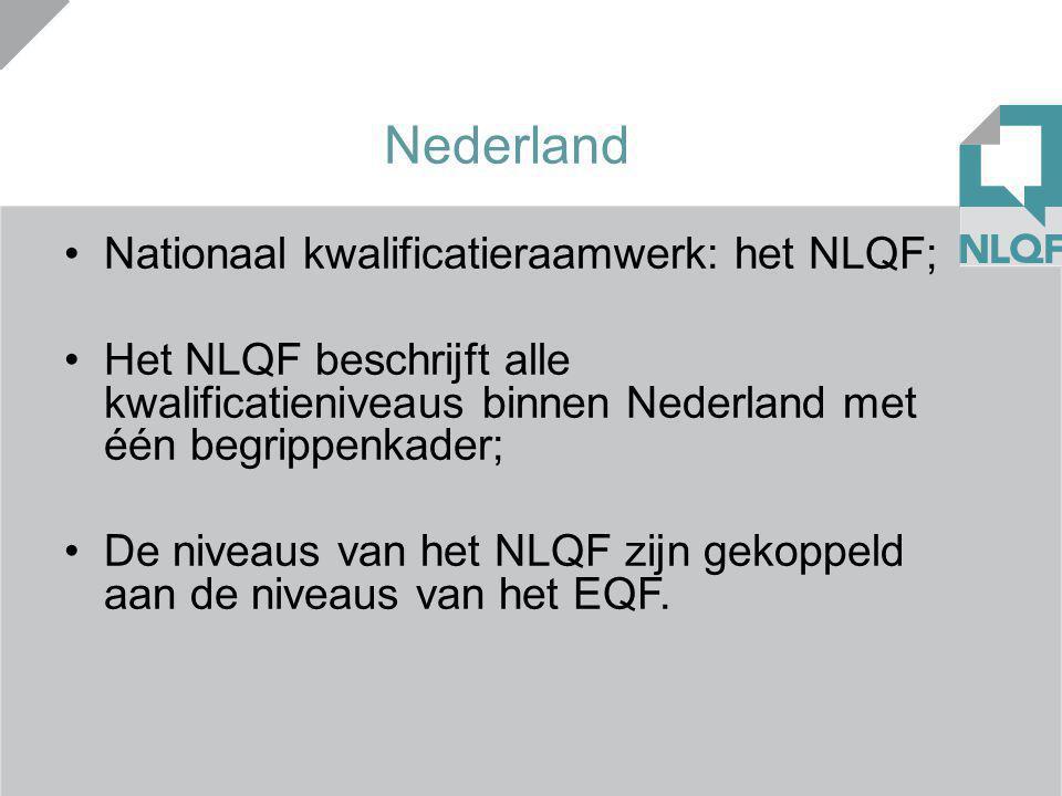 Nederland Nationaal kwalificatieraamwerk: het NLQF; Het NLQF beschrijft alle kwalificatieniveaus binnen Nederland met één begrippenkader; De niveaus v
