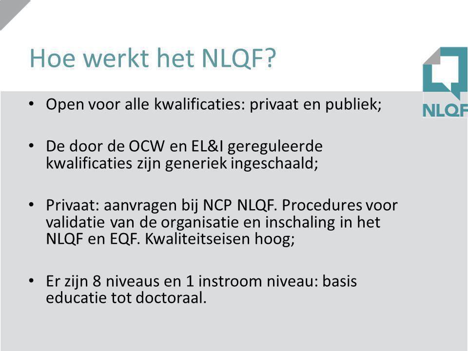 Hoe werkt het NLQF? Open voor alle kwalificaties: privaat en publiek; De door de OCW en EL&I gereguleerde kwalificaties zijn generiek ingeschaald; Pri