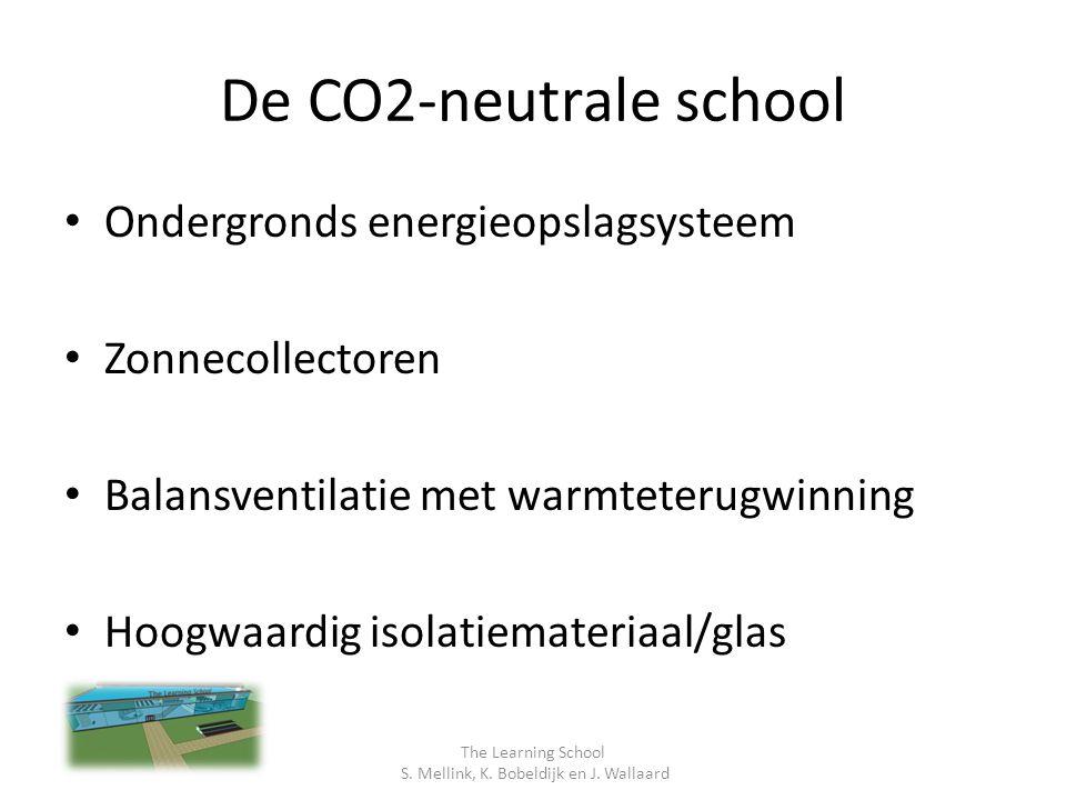 De CO2-neutrale school Ondergronds energieopslagsysteem Zonnecollectoren Balansventilatie met warmteterugwinning Hoogwaardig isolatiemateriaal/glas The Learning School S.