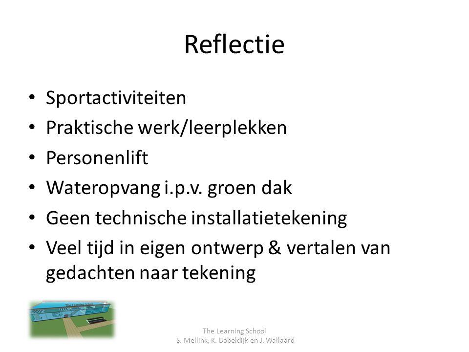 Reflectie Sportactiviteiten Praktische werk/leerplekken Personenlift Wateropvang i.p.v.