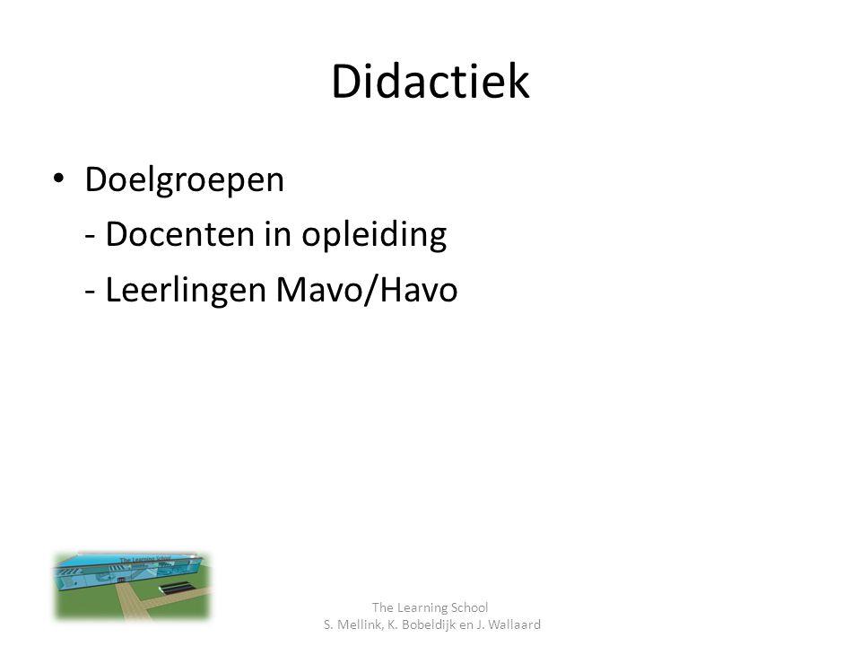Didactiek Doelgroepen - Docenten in opleiding - Leerlingen Mavo/Havo The Learning School S.