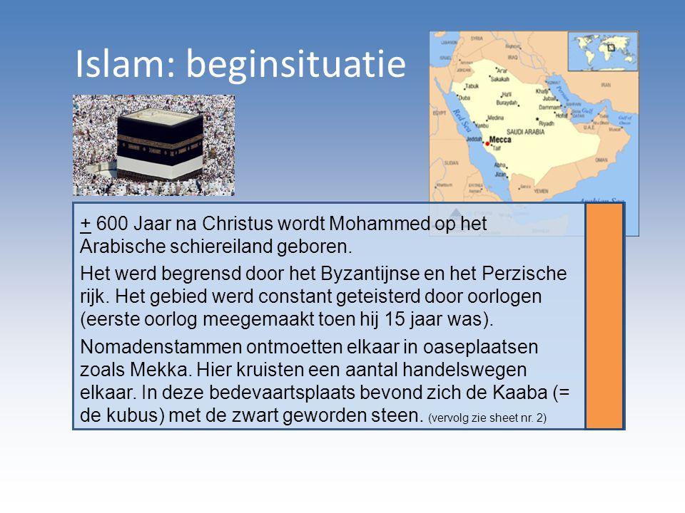 Islam: beginsituatie + 600 Jaar na Christus wordt Mohammed op het Arabische schiereiland geboren.