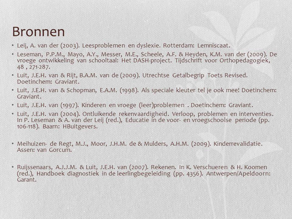 Bronnen Leij, A. van der (2003). Leesproblemen en dyslexie. Rotterdam: Lemniscaat. Leseman, P.P.M., Mayo, A.Y., Messer, M.E., Scheele, A.F. & Heyden,