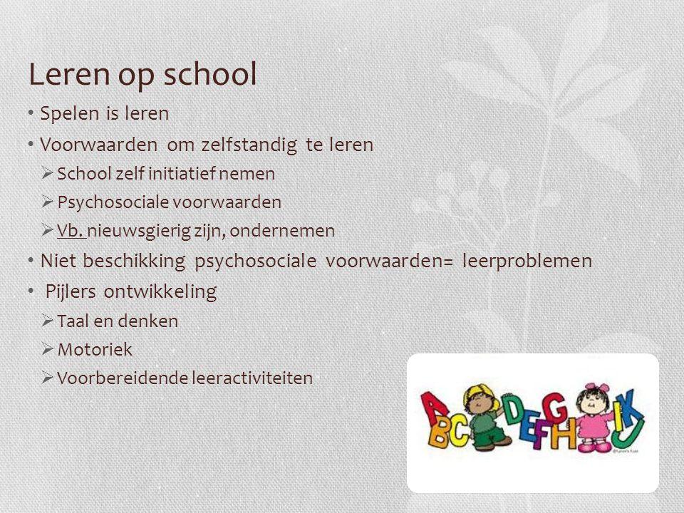 Leren op school Spelen is leren Voorwaarden om zelfstandig te leren  School zelf initiatief nemen  Psychosociale voorwaarden  Vb. nieuwsgierig zijn