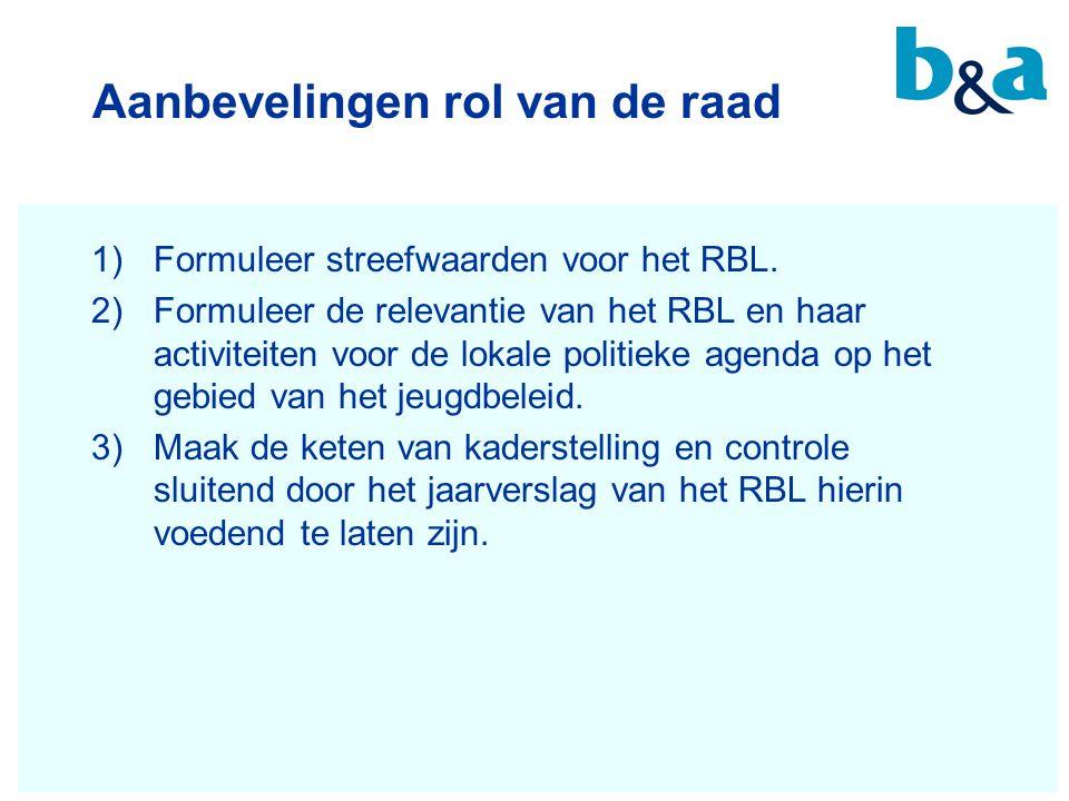 Aanbevelingen rol van de raad 1)Formuleer streefwaarden voor het RBL. 2)Formuleer de relevantie van het RBL en haar activiteiten voor de lokale politi