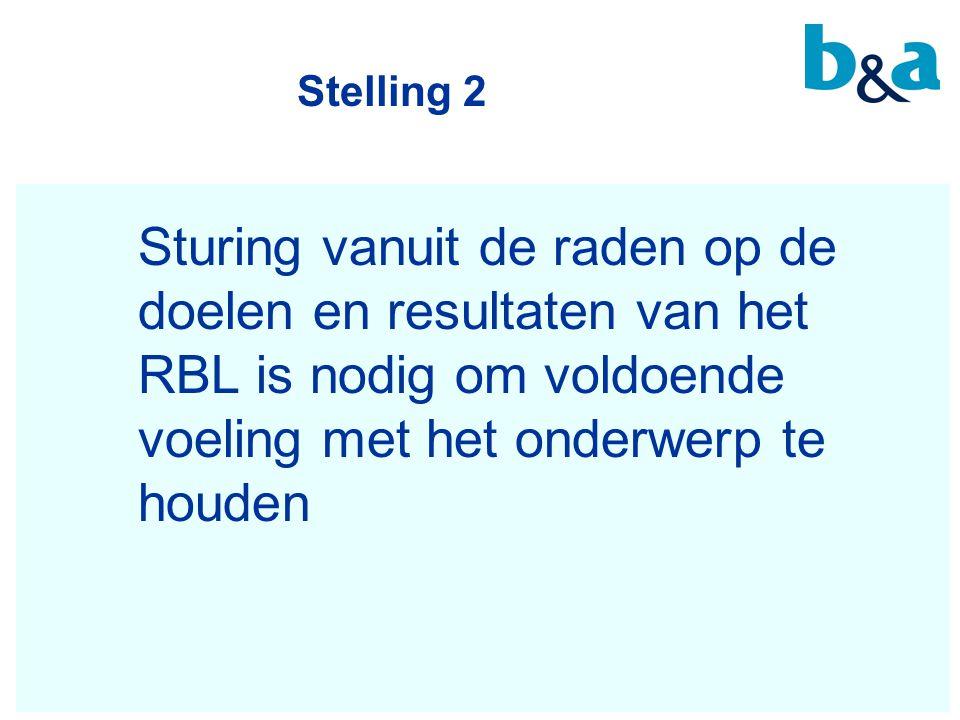 Stelling 2 Sturing vanuit de raden op de doelen en resultaten van het RBL is nodig om voldoende voeling met het onderwerp te houden