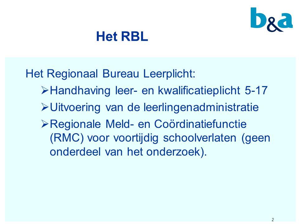 Het RBL Het Regionaal Bureau Leerplicht:  Handhaving leer- en kwalificatieplicht 5-17  Uitvoering van de leerlingenadministratie  Regionale Meld- e
