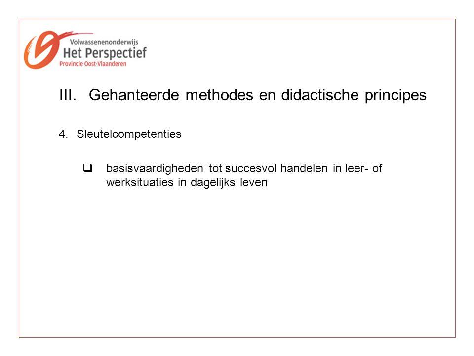 III.Gehanteerde methodes en didactische principes 4.Sleutelcompetenties  basisvaardigheden tot succesvol handelen in leer- of werksituaties in dageli