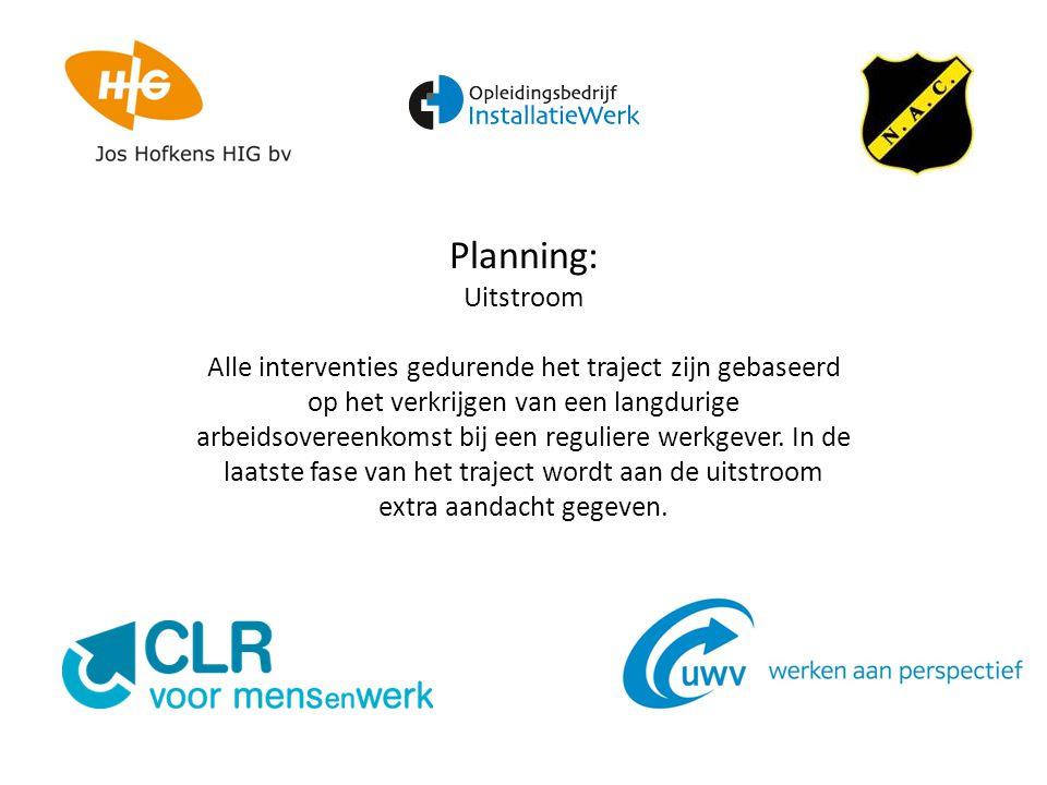 Planning: Uitstroom Alle interventies gedurende het traject zijn gebaseerd op het verkrijgen van een langdurige arbeidsovereenkomst bij een reguliere werkgever.