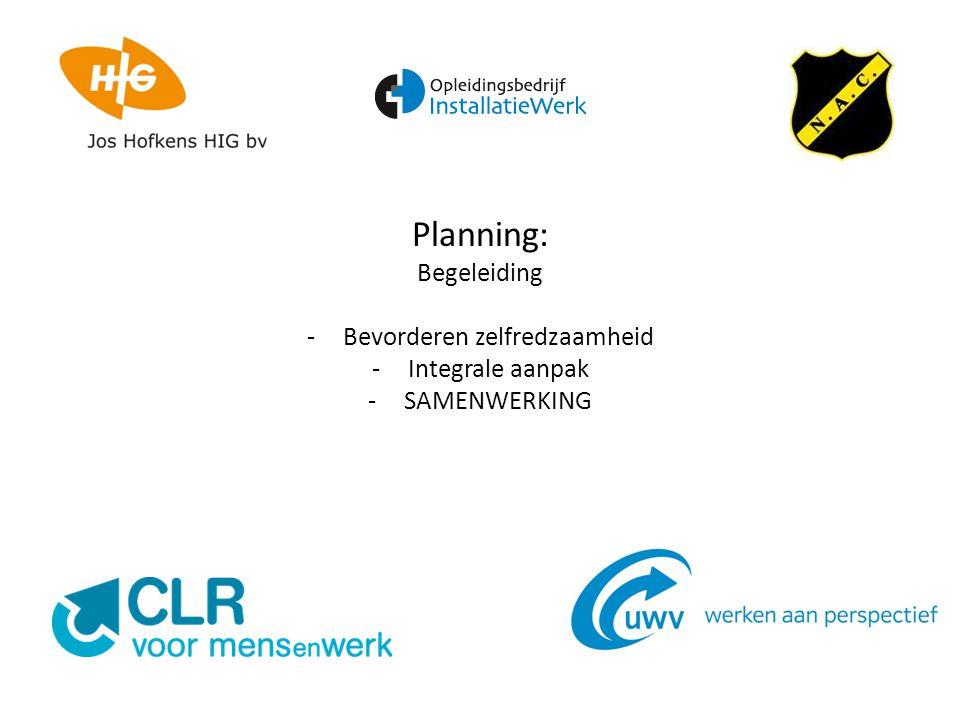 Planning: Begeleiding -Bevorderen zelfredzaamheid -Integrale aanpak -SAMENWERKING