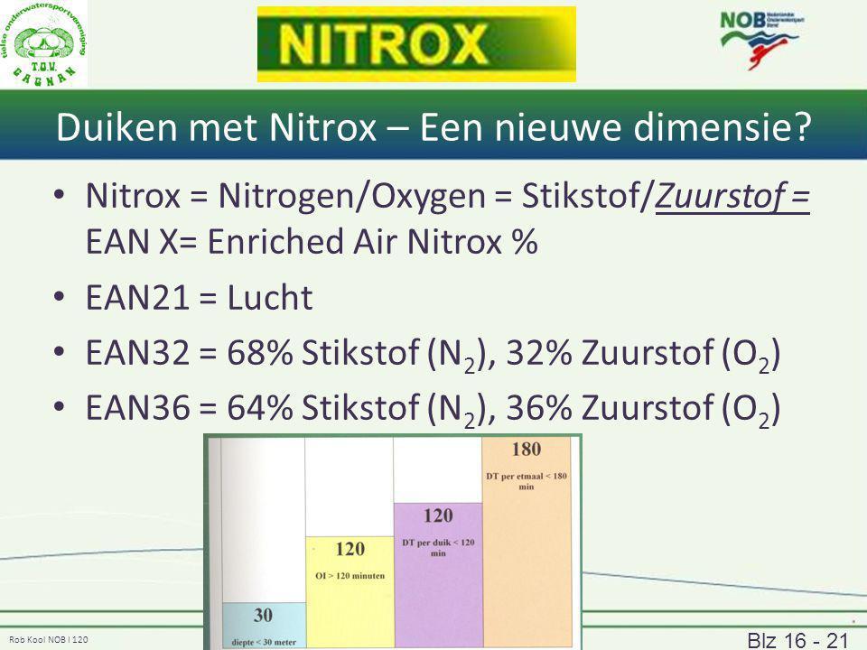 Rob Kool NOB I 120 Duiken met Nitrox – Een nieuwe dimensie? Nitrox = Nitrogen/Oxygen = Stikstof/Zuurstof = EAN X= Enriched Air Nitrox % EAN21 = Lucht