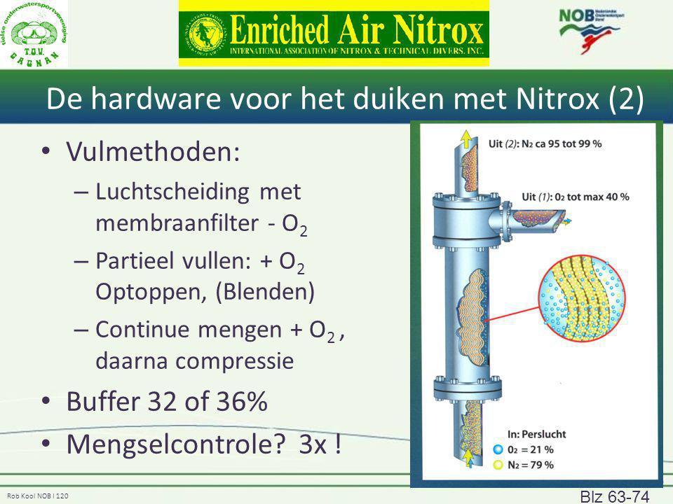 Rob Kool NOB I 120 De hardware voor het duiken met Nitrox (2) Vulmethoden: – Luchtscheiding met membraanfilter - O 2 – Partieel vullen: + O 2 Optoppen