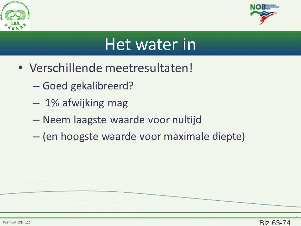 Rob Kool NOB I 120 Het water in Verschillende meetresultaten! – Goed gekalibreerd? – 1% afwijking mag – Neem laagste waarde voor nultijd – (en hoogste