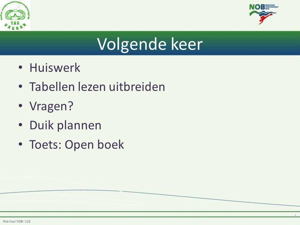 Rob Kool NOB I 120 Volgende keer Huiswerk Tabellen lezen uitbreiden Vragen? Duik plannen Toets: Open boek