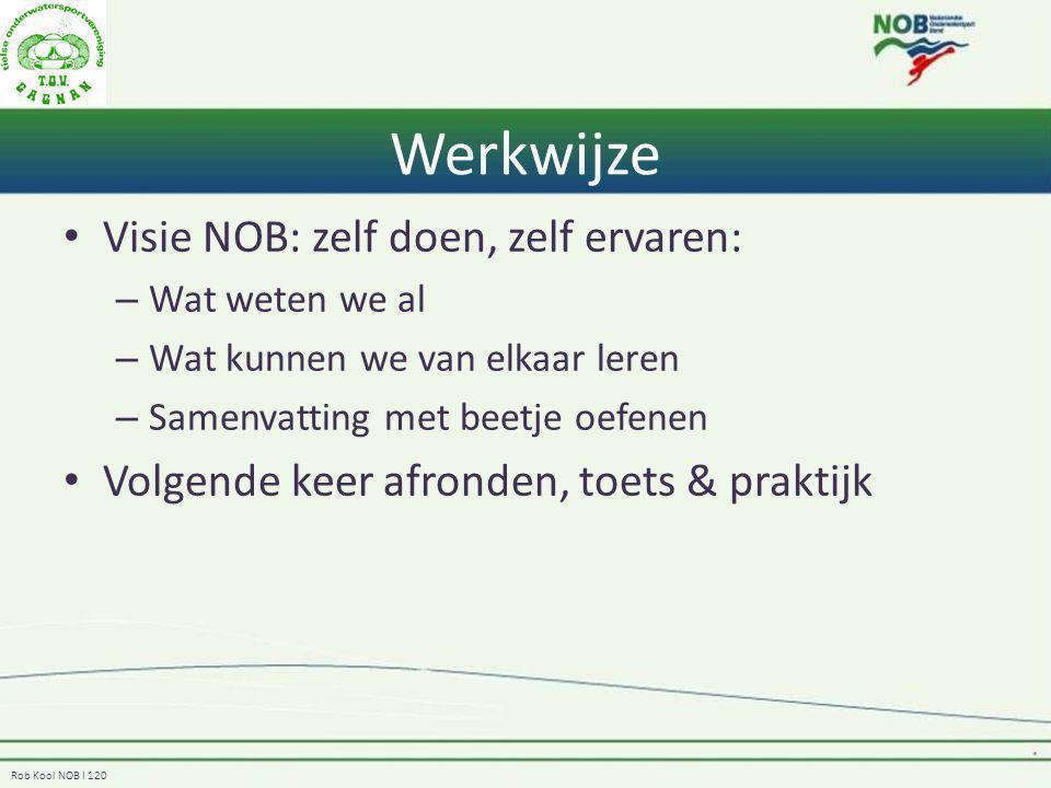 Rob Kool NOB I 120 Werkwijze Visie NOB: zelf doen, zelf ervaren: – Wat weten we al – Wat kunnen we van elkaar leren – Samenvatting met beetje oefenen