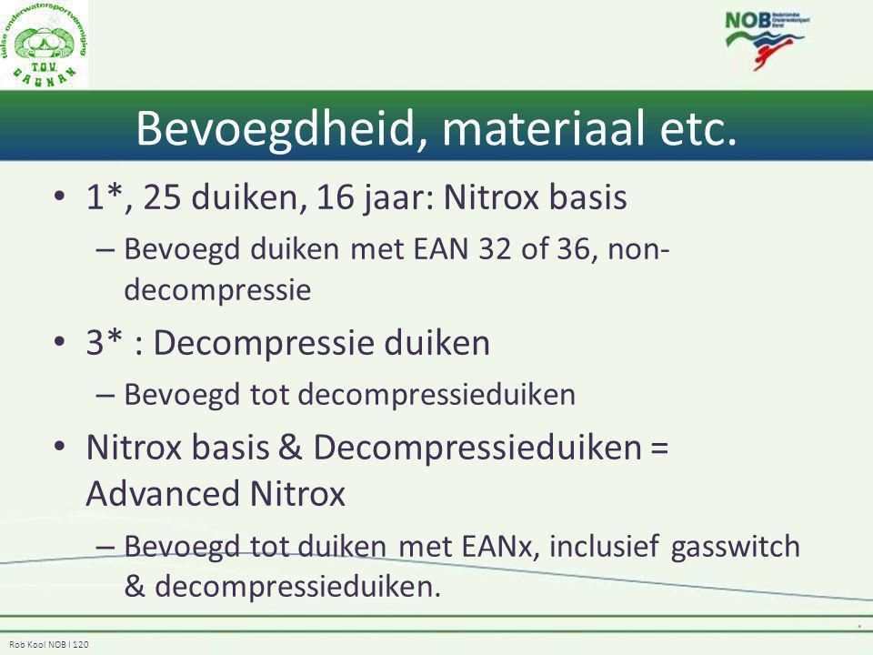 Rob Kool NOB I 120 Bevoegdheid, materiaal etc. 1*, 25 duiken, 16 jaar: Nitrox basis – Bevoegd duiken met EAN 32 of 36, non- decompressie 3* : Decompre
