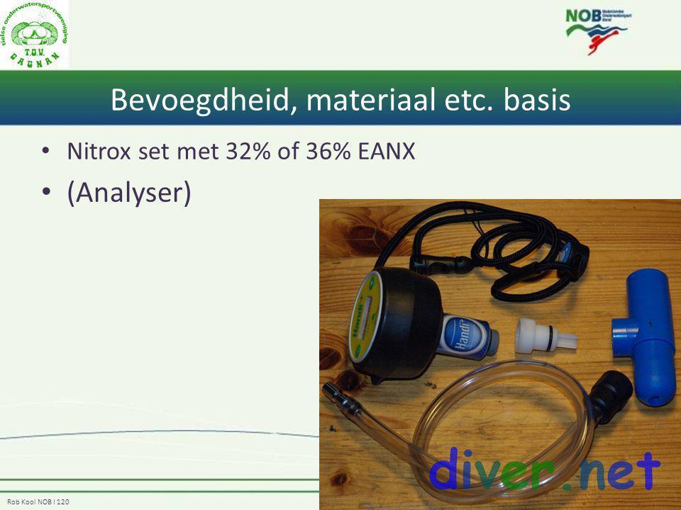 Rob Kool NOB I 120 Bevoegdheid, materiaal etc. basis Nitrox set met 32% of 36% EANX (Analyser)