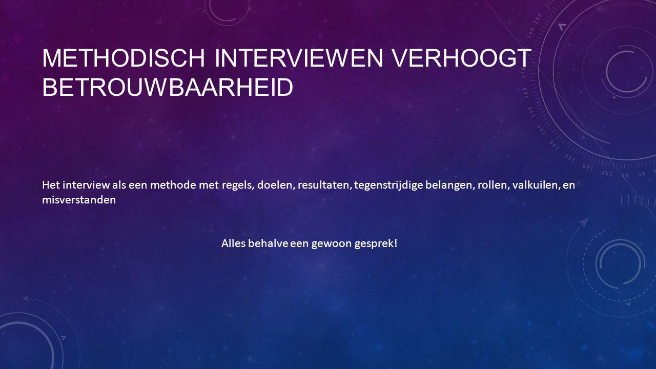 METHODISCH INTERVIEWEN VERHOOGT BETROUWBAARHEID Het interview als een methode met regels, doelen, resultaten, tegenstrijdige belangen, rollen, valkuil