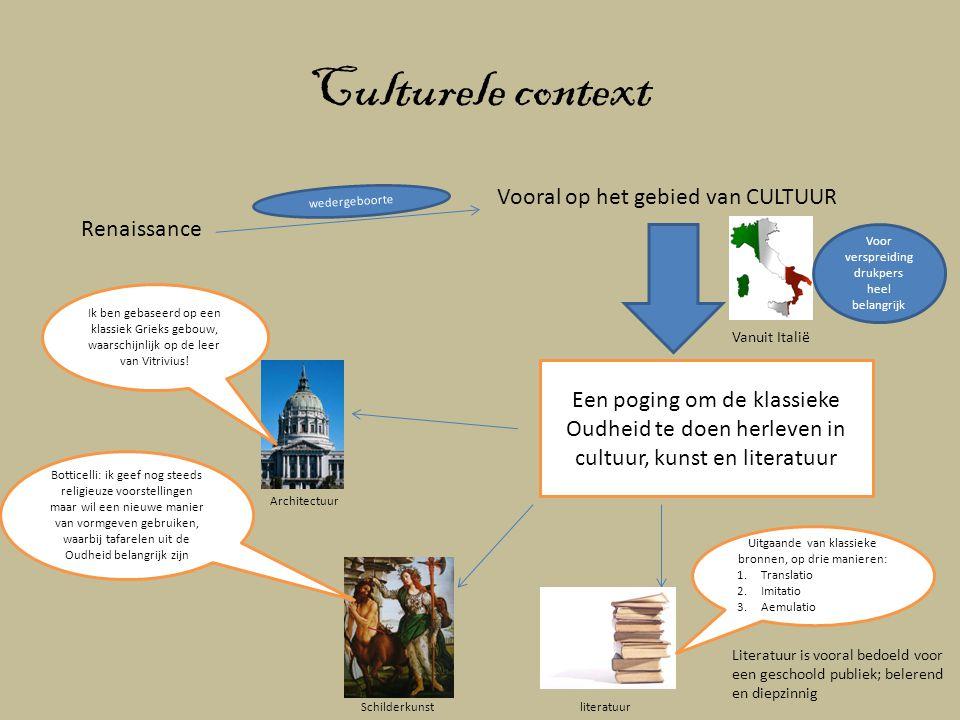 Culturele context Renaissance Vooral op het gebied van CULTUUR wedergeboorte Vanuit Italië Een poging om de klassieke Oudheid te doen herleven in cult