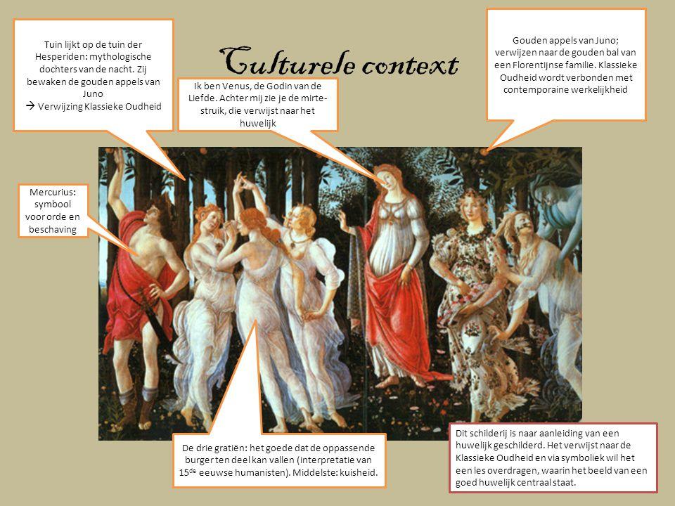 Culturele context Tuin lijkt op de tuin der Hesperiden: mythologische dochters van de nacht. Zij bewaken de gouden appels van Juno  Verwijzing Klassi