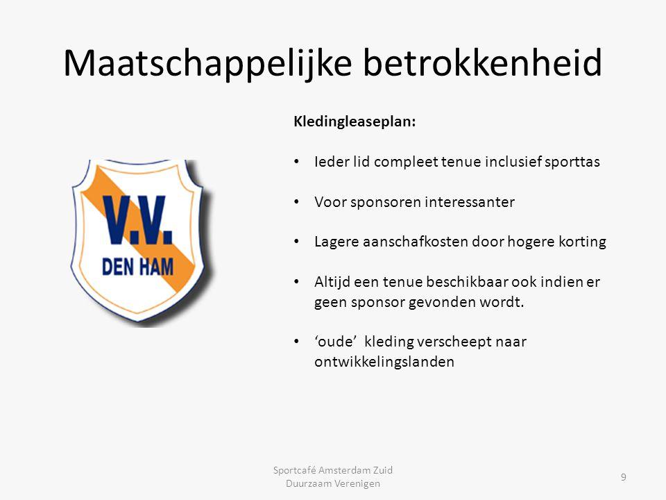 Maatschappelijke betrokkenheid Sportcafé Amsterdam Zuid Duurzaam Verenigen 9 Kledingleaseplan: Ieder lid compleet tenue inclusief sporttas Voor sponso