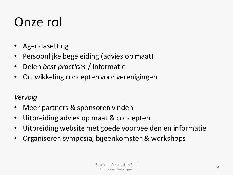Onze rol 14 Agendasetting Persoonlijke begeleiding (advies op maat) Delen best practices / informatie Ontwikkeling concepten voor verenigingen Vervolg