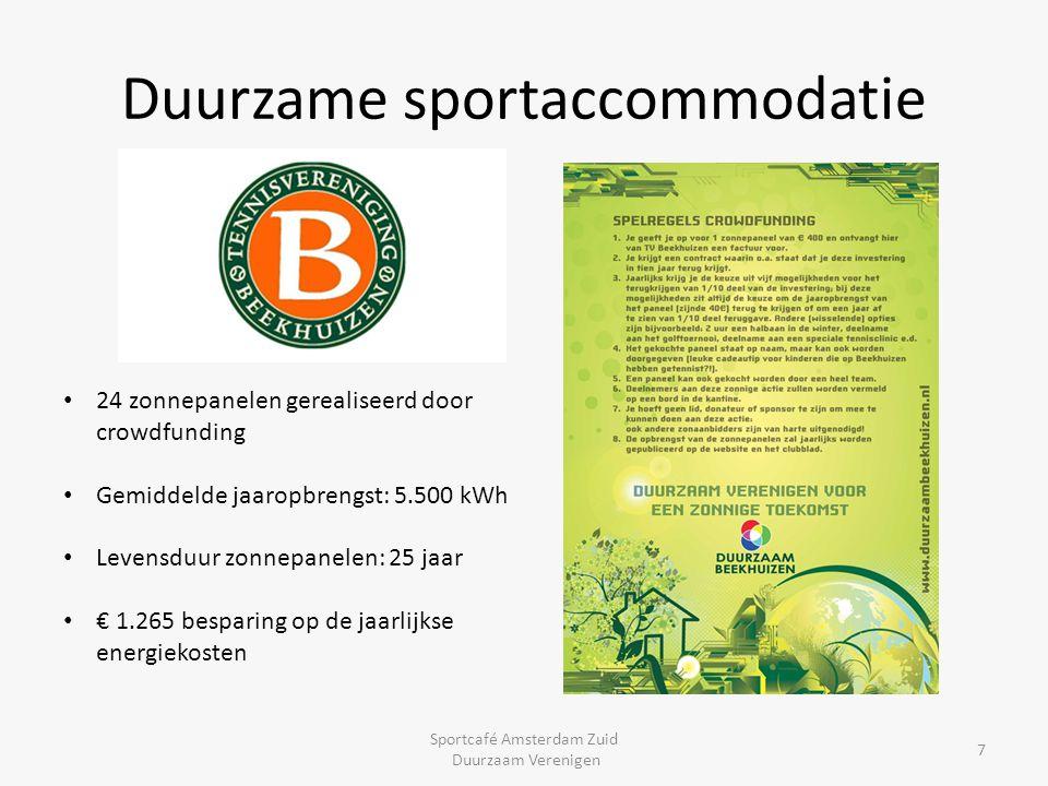 Duurzame sportaccommodatie Sportcafé Amsterdam Zuid Duurzaam Verenigen 7 24 zonnepanelen gerealiseerd door crowdfunding Gemiddelde jaaropbrengst: 5.50