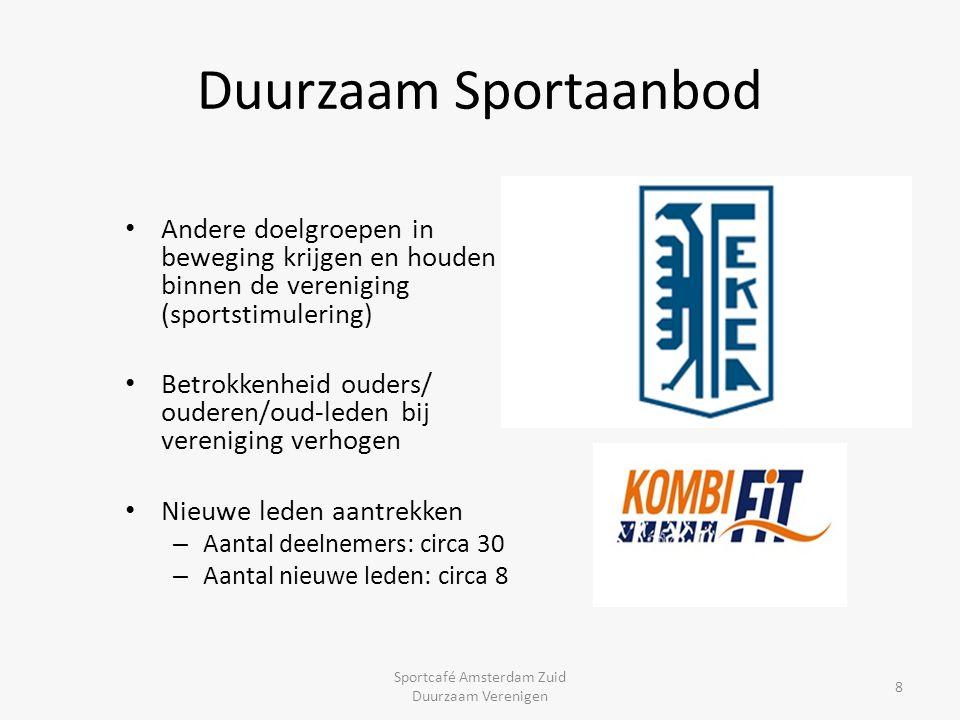 Duurzaam Sportaanbod Andere doelgroepen in beweging krijgen en houden binnen de vereniging (sportstimulering) Betrokkenheid ouders/ ouderen/oud-leden