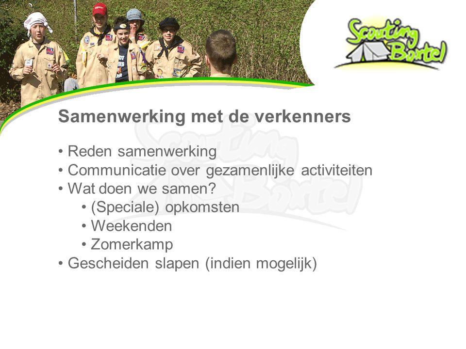Samenwerking met de verkenners Reden samenwerking Communicatie over gezamenlijke activiteiten Wat doen we samen.