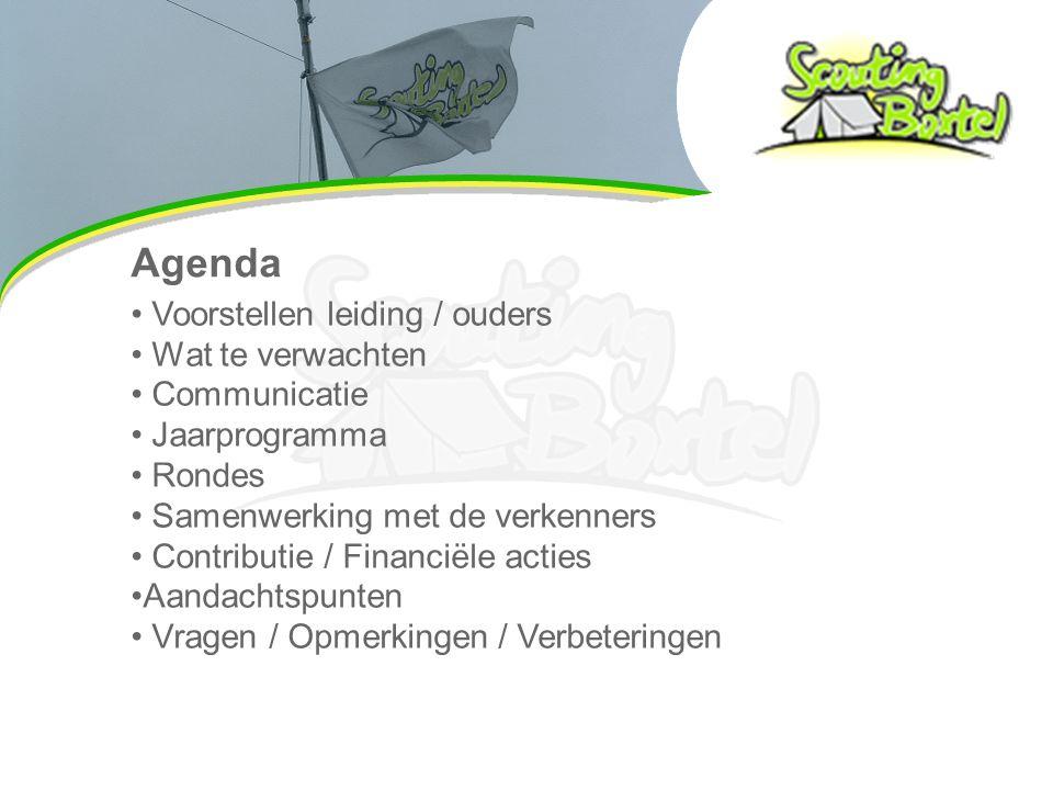 Agenda Voorstellen leiding / ouders Wat te verwachten Communicatie Jaarprogramma Rondes Samenwerking met de verkenners Contributie / Financiële acties Aandachtspunten Vragen / Opmerkingen / Verbeteringen