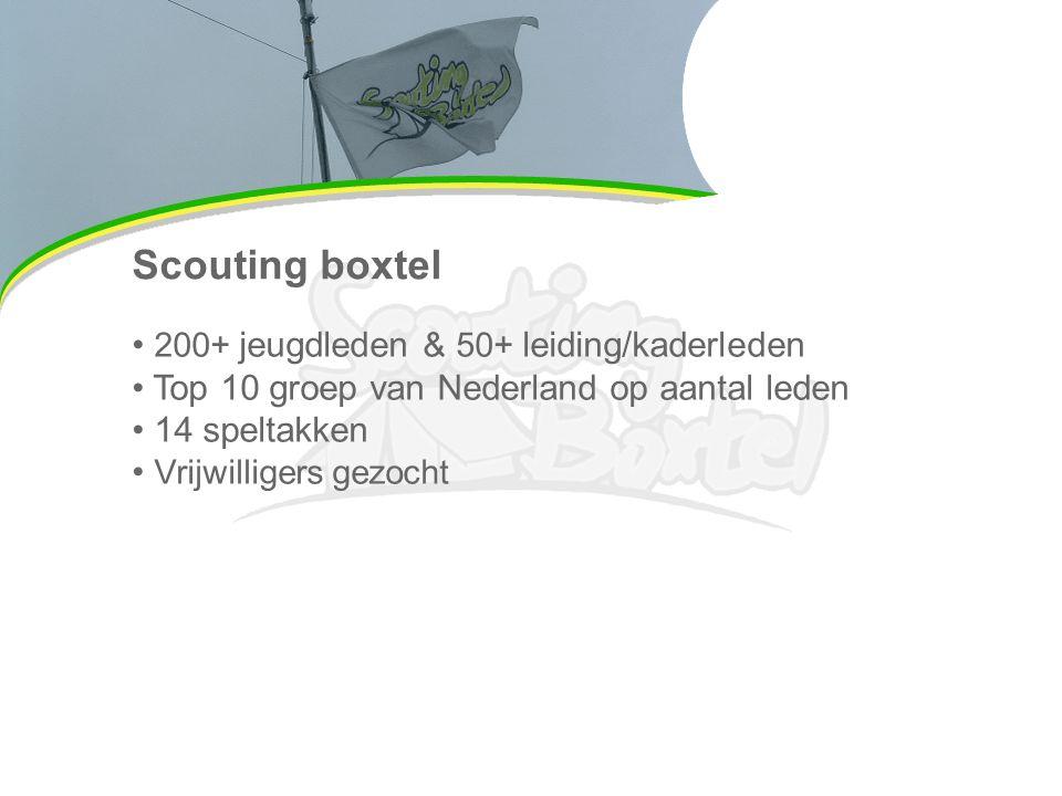 Scouting boxtel 200+ jeugdleden & 50+ leiding/kaderleden Top 10 groep van Nederland op aantal leden 14 speltakken Vrijwilligers gezocht