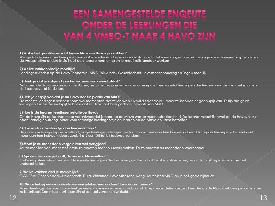 1) Wat is het grootste verschil tussen Mavo en Havo qua vakken? We zijn tot de eindconclusie gekomen dat je sneller en dieper door de stof gaat. Het i