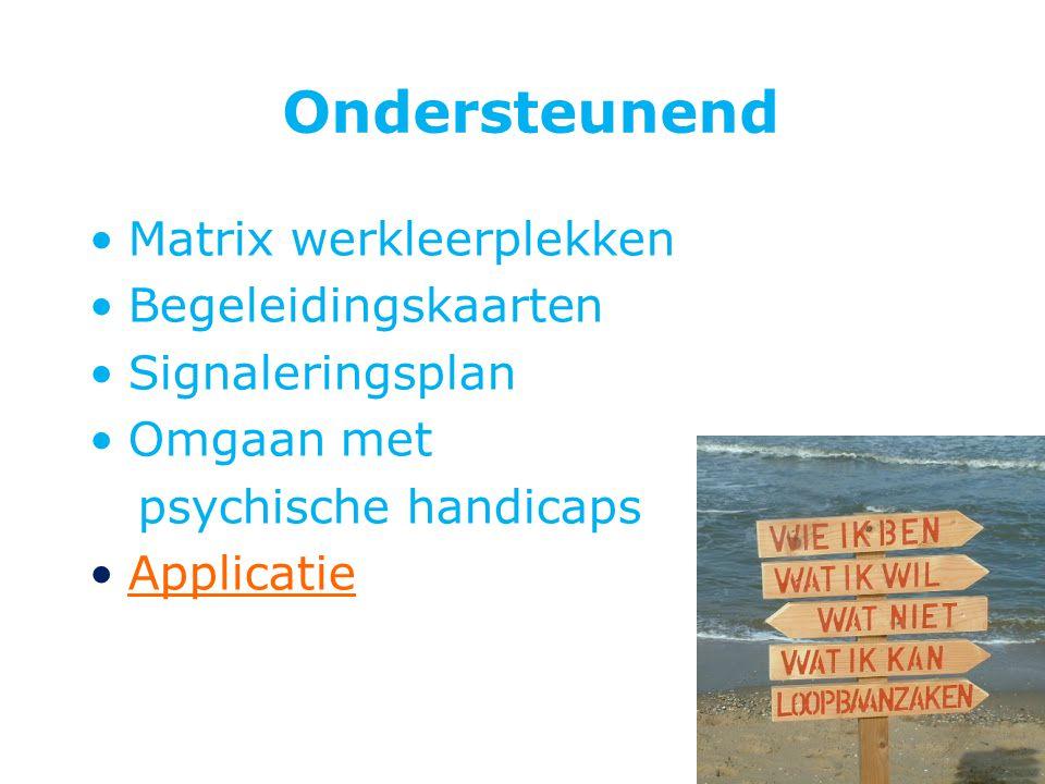 Ondersteunend Matrix werkleerplekken Begeleidingskaarten Signaleringsplan Omgaan met psychische handicaps Applicatie