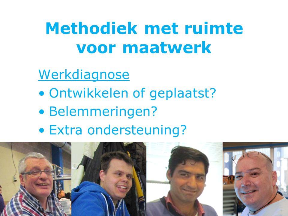Methodiek met ruimte voor maatwerk Werkdiagnose Ontwikkelen of geplaatst? Belemmeringen? Extra ondersteuning?