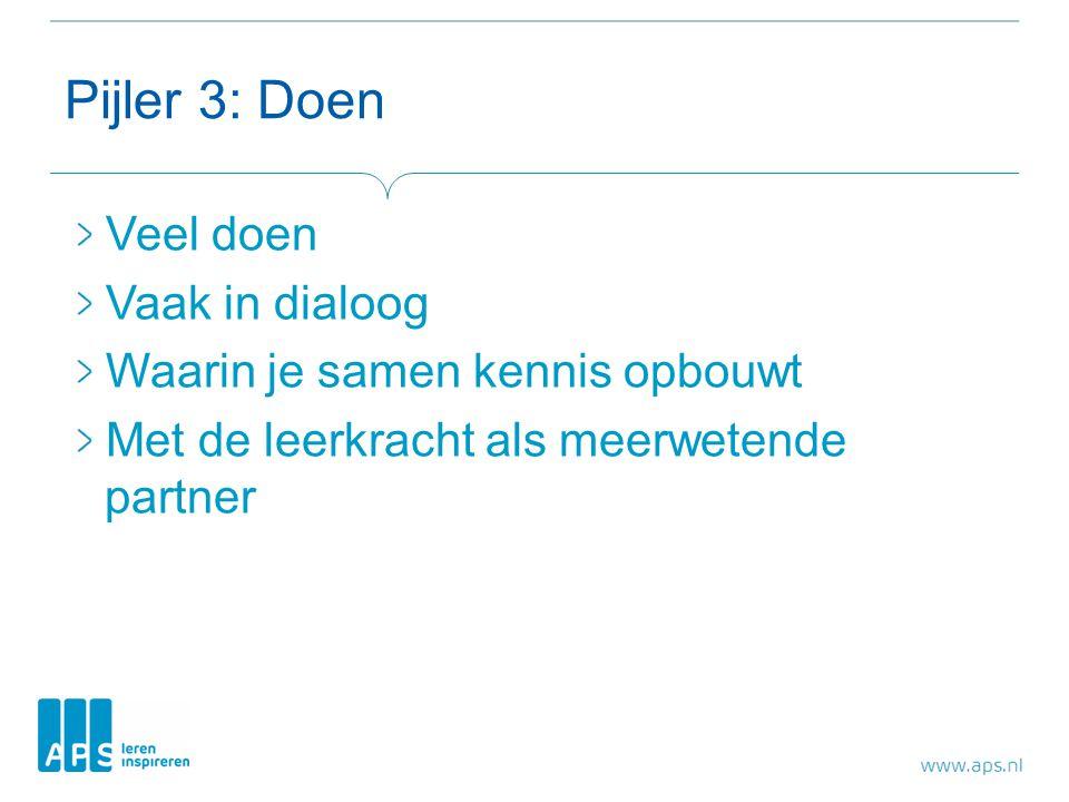 Pijler 3: Doen Veel doen Vaak in dialoog Waarin je samen kennis opbouwt Met de leerkracht als meerwetende partner