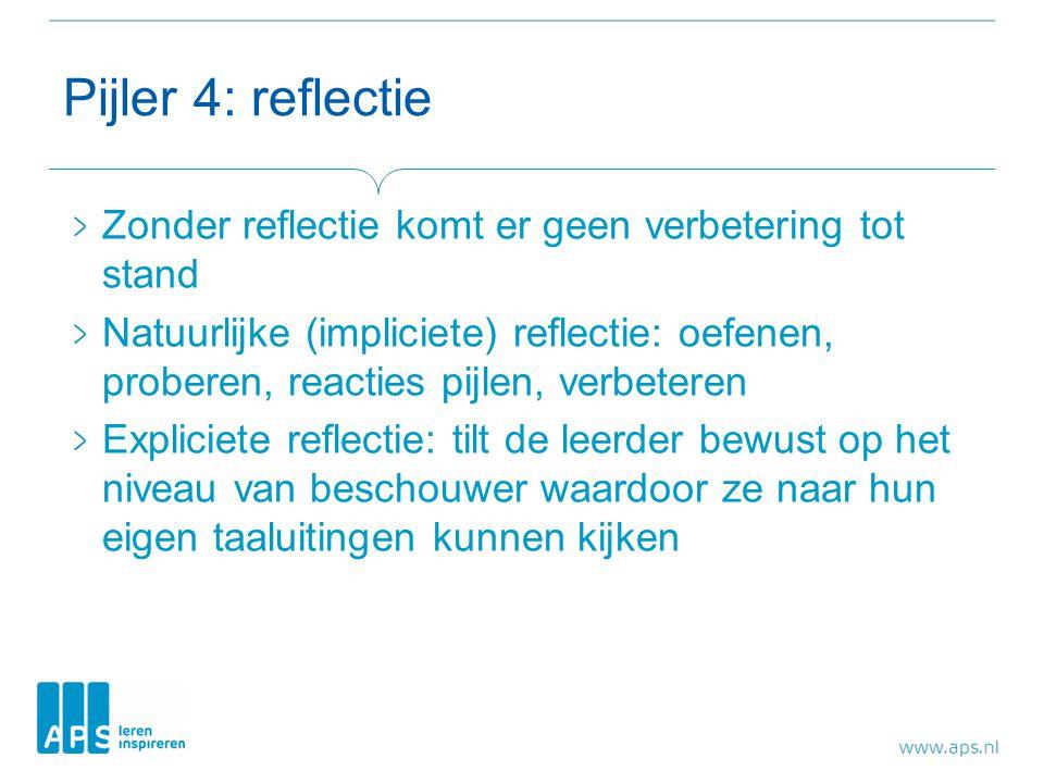 Pijler 4: reflectie Zonder reflectie komt er geen verbetering tot stand Natuurlijke (impliciete) reflectie: oefenen, proberen, reacties pijlen, verbet