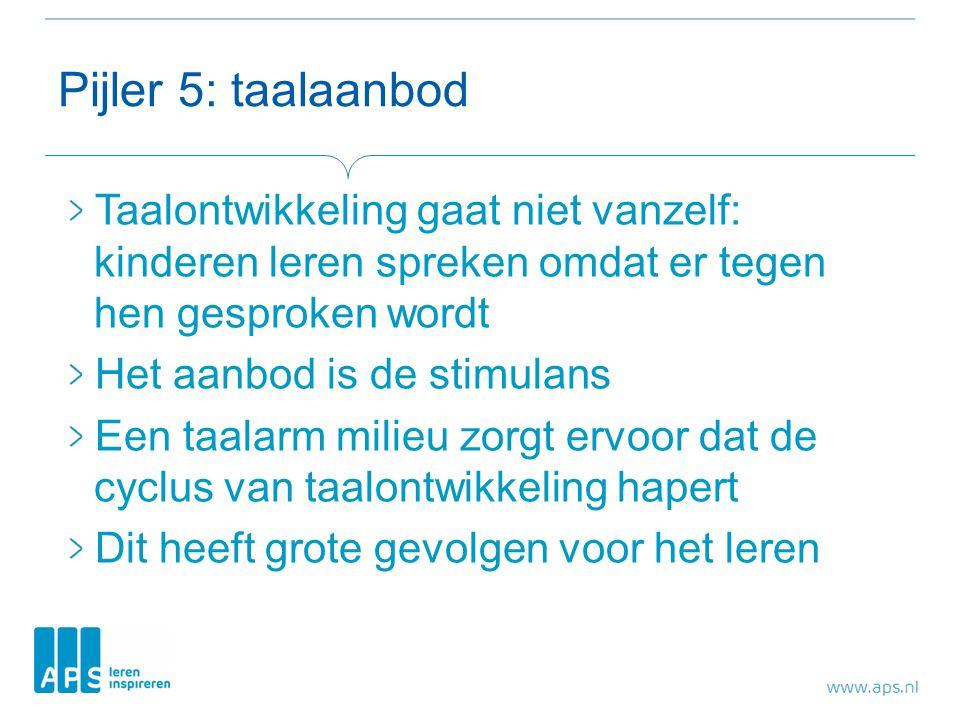 Pijler 5: taalaanbod Taalontwikkeling gaat niet vanzelf: kinderen leren spreken omdat er tegen hen gesproken wordt Het aanbod is de stimulans Een taal
